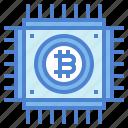 bitcoin, chip, cpu, network icon