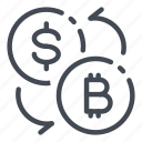 bitcoin, cryptocurrency, currency, dollar, exchange, money icon