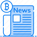 business newspaper, cryptocurrency news, mass media, news media, social media icon