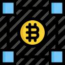 bitcoin, block, blockchain, cryptocurrency, digital, money, payment icon