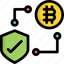 bitcoin, cryptocurrency, digital, money, protection, security icon