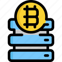 bitcoin, cryptocurrency, database, digital, money, server, storage icon