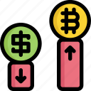 bitcoin, cryptocurrency, digital, exchange, money, trading icon
