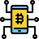 bitcoin, cell, cryptocurrency, digital, mobile, money, phone icon