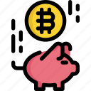 bank, bitcoin, cryptocurrency, digital, finance, money, piggy icon