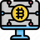 bitcoin, cryptocurrency, digital, money, monitor, screen icon