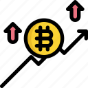 bitcoin, chart, cryptocurrency, digital, money, trend, up icon