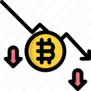 bitcoin, cryptocurrency, digital, down, finance, money, trend icon