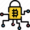 bitcoin, cryptocurrency, digital, lock, money, protection, security icon