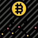 analytics, bitcoin, chart, cryptocurrency, digital, line, money icon