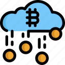 bitcoin, cloud, coin, cryptocurrency, digital, money icon