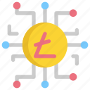 bitcoin, cryptocurrency, digital, dollar, finance, litecoin, money icon
