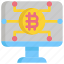 bitcoin, cryptocurrency, digital, money, monitor icon