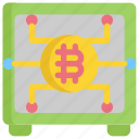 bitcoin, cryptocurrency, digital, money, payment, safe icon