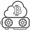 bitcoin, bitcoins, blockchain, cloud, mining icon