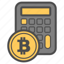 bitcoin, bitcoins, calc, money icon