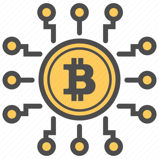 bitcoin, bitcoins, blockchain, currency, digital icon