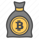 bag, bank, bitcoin, bitcoins, save icon