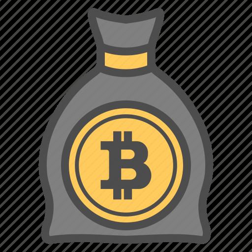 bag, bank, bitcoin, bitcoins, save icon