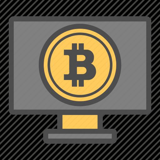 bitcoin, bitcoins, computer, exchange icon