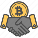 bitcoin, bitcoins, contract, deal, hand, hands icon
