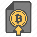 bitcoin, bitcoins, document, documentation, upload icon