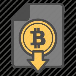 bitcoin, bitcoins, document, documentation, download icon