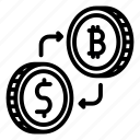 bitcoin, blockchain, crypto, cryptocurrency, currency, exchange, mining icon
