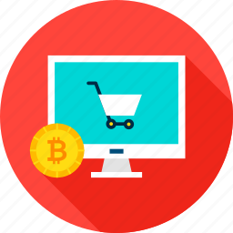 bitcoin, cart, computer, cryptocurrency, ecommerce, online, shopping icon