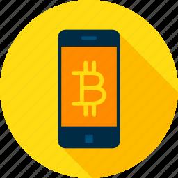 bit, bitcoin, blockchain, coin, cryptocurrency, mobile, smartphone icon