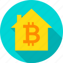 bit, bitcoin, blockchain, coin, home, house, technology icon