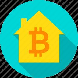 bit, bitcoin, blockchain, coin, home, house, technology icon