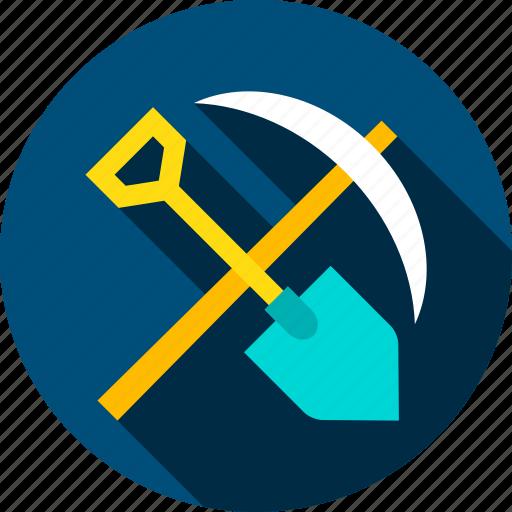 industry, mattock, mining, pickax, pickaxe, shovel, tool icon