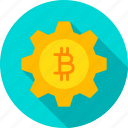 bitcoin, cogwheel, cryptocurrency, gear, gearwheel, technology, wheel icon