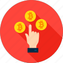 bit, bitcoin, coin, cryptocurrency, currency, hand, money icon