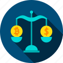 bitcoin, cryptocurrency, dollar, exchange, rate, rates, scales icon