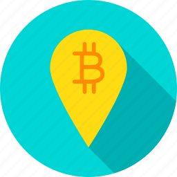 bit, bitcoin, coin, cryptocurrency, map, pin, tag icon
