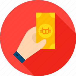banknote, bit, bitcoin, coin, cryptocurrency, hand, payment icon