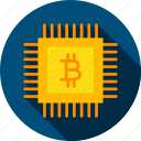 bitcoin, blockchain, chip, computer, digital, microchip, technology icon
