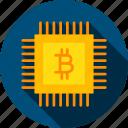 bitcoin, blockchain, chip, computer, digital, microchip, technology icon