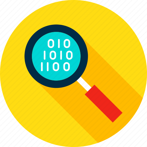 binary, bit, byte, computer, glass, magnifying, search icon