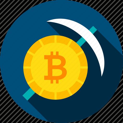 bit, bitcoin, coin, cryptocurrency, mattock, mining, pickaxe icon
