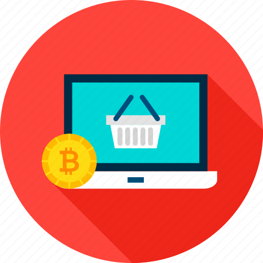 bag, bitcoin, commerce, cryptocurrency, laptop, online, shopping icon