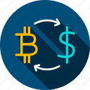 bitcoin, cryptocurrency, dollar, exchange, money, rate, rates icon