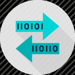binary, bit, byte, computer, technology, transaction, transfer icon