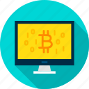 binary, bitcoin, computer, cryptocurrency, digital, display, technology icon