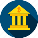 bank, banking, bitcoin, building, cryptocurrency, finance, structure icon