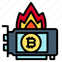card, bitcoin, fire, heat, cryptocurrency