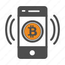 bitcoin, bitcoins, mobile icon