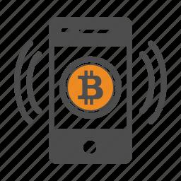 bitcoin, bitcoins, mobile icon